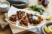 Lamb and chickpea pizza