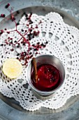 Cold elderberry soup with lemon and cinnamon