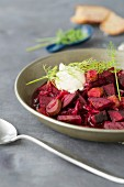 Borscht with sour cream and dill