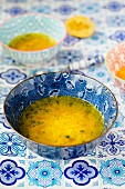 Lemon soup with basmati rice and turmeric (India)
