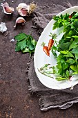 Fresh garlic and parsley