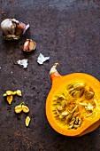Half a Hokkaido pumpkin and garlic