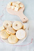 Christmas biscuits filled with white chocolate
