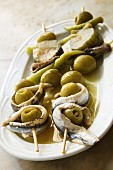 Anchovy and olive skewers