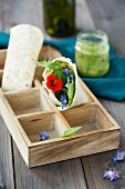 A wild herb cream and salad wrap