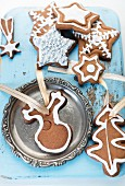 Various gingerbread biscuits as Christmas tree decorations