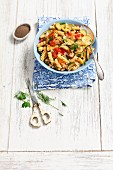 Fusilli with courgettes, tomatoes and dill