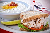 Chicken salad sandwich with potato soup