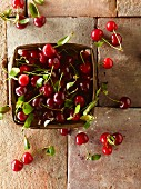 Fresh cherries in a wooden basket on a tiled floor