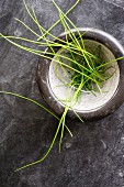 Chives in a ceramic bowl