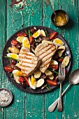 Salade Nicoise with tuna steaks