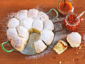 Buchteln (baked, sweet yeast dumplings) with rowanberries