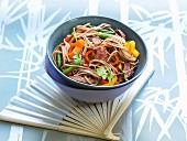 Soba noodles with beef and vegetables (Asia)