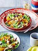 Roasted golden beets with halloumi and frisee lettuce