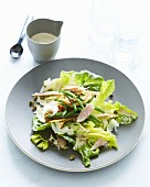 Cos lettuce with tuna fish, fennel, green beans and capers