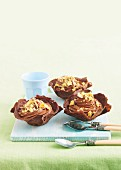 Chocolate crepe baskets with chocolate mousse