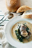 Pork fricassee with lovage (Greece)