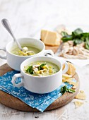 Courgette and basil soup with Parmesan