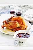 Roast turkey with cherry sauce