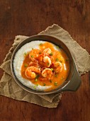 Cheesy semolina with prawn sauce