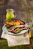 Beef steak with grilled squash
