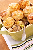 Chicken pot pie with mushrooms and American biscuits
