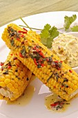 Corn on the hob with herb butter and chilli