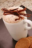 Hot chocolate garnished with chocolate flakes