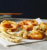 Vegetable tempura on kitchen towel