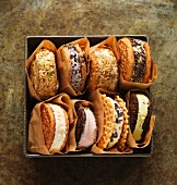 A selection of ice cream sandwiches