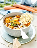 Carrot and chestnut stew with Parmesan crisps