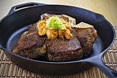 Porterhouse steak with shrimps and garlic butter