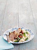 Roast lamb with spinach rice