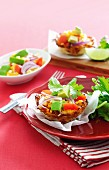 Hash brown cups with salsa