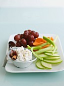 Spiced cottage cheese with fruit and vegetables