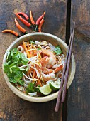Pho soup with bean sprouts and shrimps