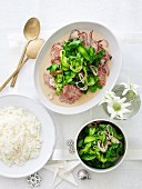 Wagyu beef braised in coconut milk served with a pickled cucumber salad and rice (Christmas)