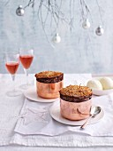 Cherry soufflé with chocolate for Christmas
