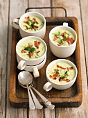 Cream of broccoli soup with caramelised bacon