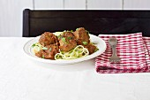 Paleo meatballs with courgette strips