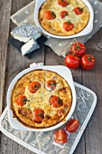 Clafouti with cherry tomatoes and goats cheese