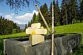 Stillleben mit Alpbachtaler Heumilchkäse auf Kuhtränke im Alpbachtal (Tirol, Österreich)