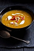 Butternut squash soup with creme fraiche