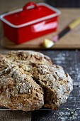 Soda bread, sliced, and butter