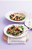 Greek-style salad with cannellini and marinated Haloumi