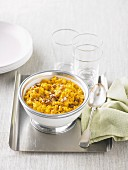 Sweetcorn and pumpkin purée with walnuts