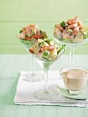Prawn, avocado and potato cocktail