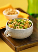 Fried brown rice with soya beans
