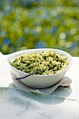 Green rice with herbs