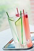 Limeade and raspberry drinks